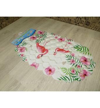 Антискользящий коврик на присосках в ванную Flamingo&Flowers