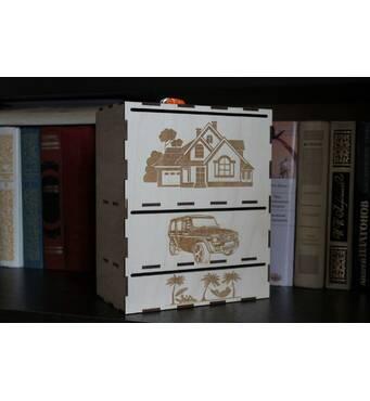 Скарбничка подарунок з фанери АЧ замість конверта для грошей на весілля