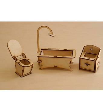 Меблі для лялькового будиночка. Набор - Ванна кімната