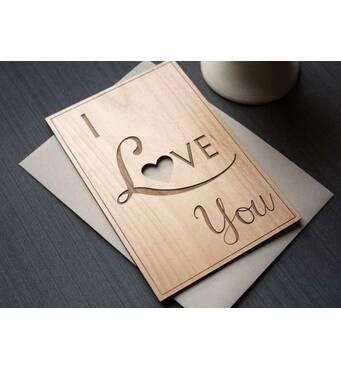 Оригінальна дерев'яна листівка I love YOU, Листівка на день закоханих, 14 лютого