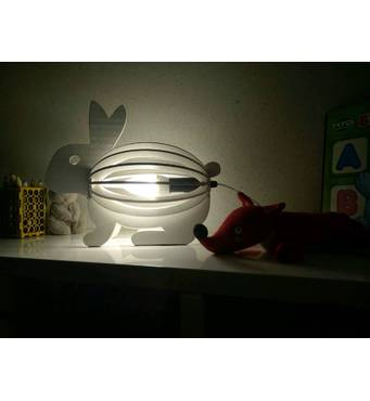 Світильник - Кіт з рибкою, нічник з дерева