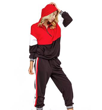 Спортивный костюм червоний/чорний LK001, розмір S