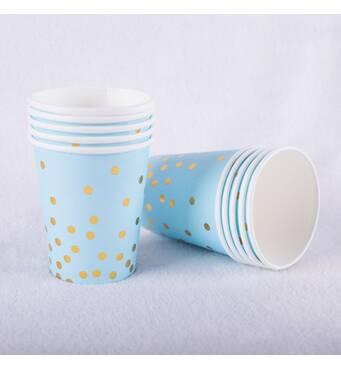 """Скляночки паперові одноразові """"Блакитні із золотим горохом"""",10 шт"""