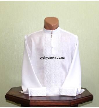 рубашка  мужская вышитая белым шелком
