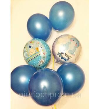 """Композиция """"С рождением малыша""""из 7 шаров"""