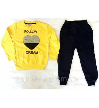 "Тёплый костюм ""Сердце"" для девочки жёлтого цвета"
