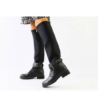 Женские демисезонные черные сапоги, кожа и обувной стрейч 40