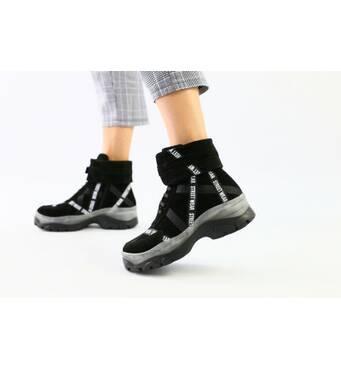 Женские демисезонные ботинки из черной замши 36