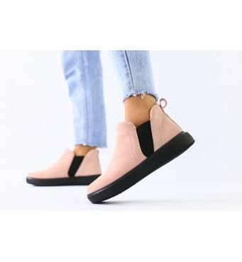 Женские демисезонные ботинки из велюра без каблука, пудра 40