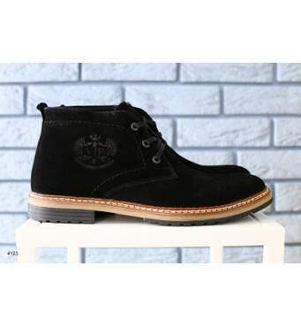 Ботинки мужские замшевые, зимние, на шнурках, черные 45