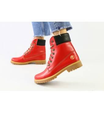 Зимние ботинки красные кожаные реплика Timberland 39