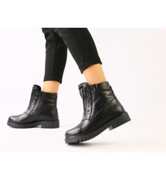 Зимние черные кожаные ботинки