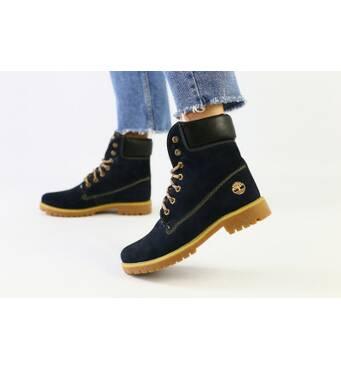 Зимние синие ботинки из нубука 40