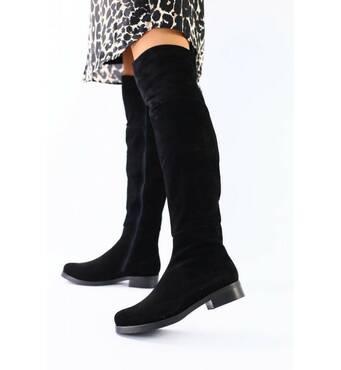 Женские зимние черные замшевые ботфорты, 41