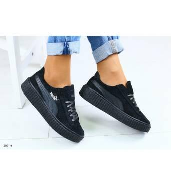 Женские черные кожаные кроссовки 38
