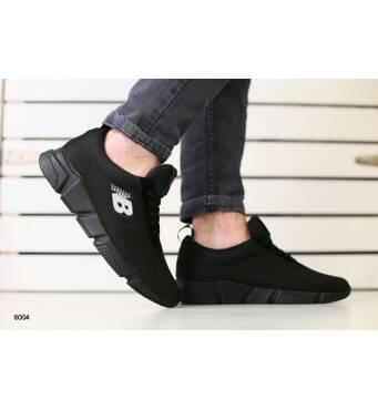 Мужские кроссовки черная сеточка с замшевыми вставками 40