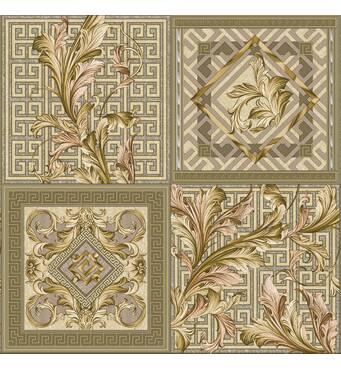 Обои бумажные влагостойкие Версаче кафель оливковый 2159