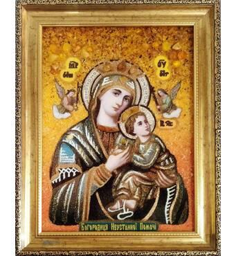 Ікона Богородиці Неустанної Помочі з бурштину 20х30 без скла