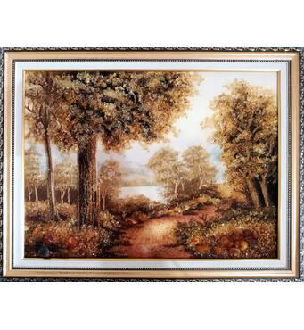 """Бурштинова картина """"Осінній ліс"""" 30х40 см"""