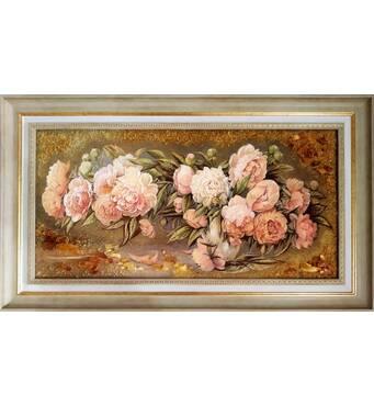 """Картина из янтаря """"Піоны"""" 30х60 см"""