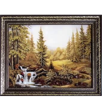 """Картина з бурштину """"Гірський водоспад"""" 30x40 см"""