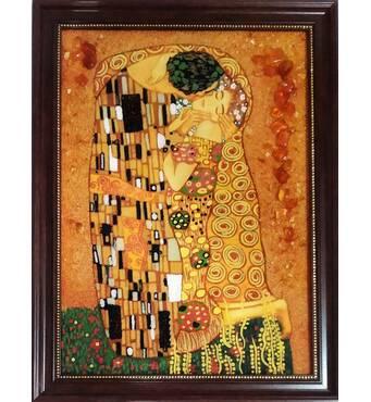 """Картина з бурштина """"Поцілунок"""" 30х40 см"""