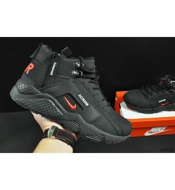 ботинки Nike Air Huarache арт 20674 (зимние, мужские, черные)