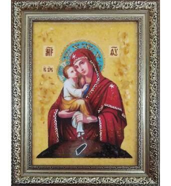 Икона Почаевской Божьей Матери из янтаря 15х20 см без стекла