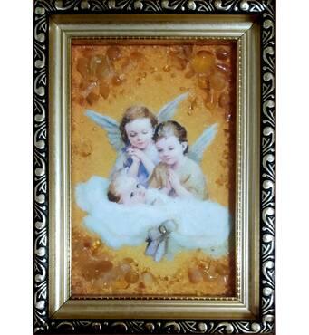 """Ікона із бурштину для дитини """"Янголята"""" 10х15 см без скла"""