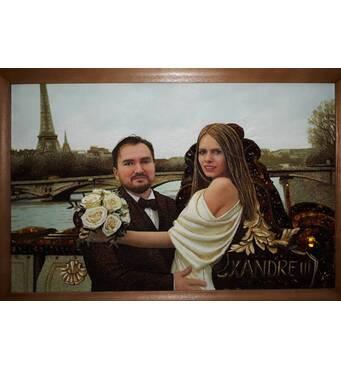Янтарный портрет  влюбленной пары