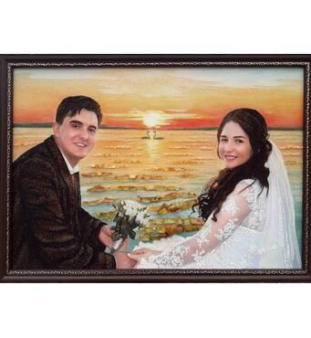 Весільний портрет із бурштину на природі