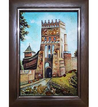 """Картина з бурштину """"Види Луцька. Замок Любарта"""" 15х20 см"""