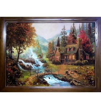 "Картина из янтаря ""Домик у реки"" 60х80 см"