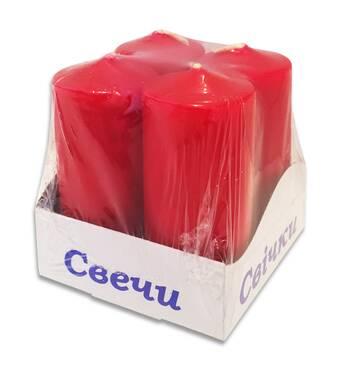Свічки стовпи  интерьерные  червоні 40 х 80 мм ( 4 шт.)