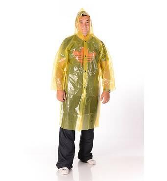 Плащ дощовик поліетиленовий жовтий на кнопках