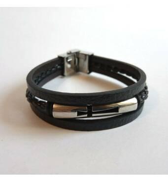 Чоловічий шкіряний браслет потрійний з вставкою Хрест