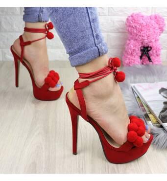 Женские стильные красные босоножки на шпильке 1029-1