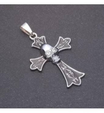 Кулон Хрест Череп, сірий метал