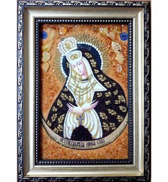 Ікона Остробрамської Божої Матері з бурштину 10х15 см без скла