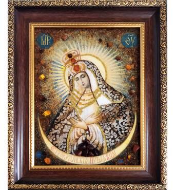 Ікона Остробрамської Божої Матері з бурштину 15х20 см без скла