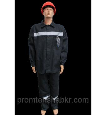 Костюм рабочий черный (диагональ) плотность 240г/м2 64/66 рост 170/176
