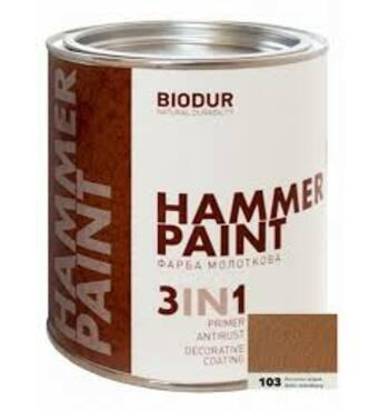 Краска специального назначения молотковая 117 коричневая Biodur, 2,1л.