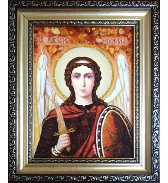Ікона Архангела Михаїла з бурштину 15 х 20 см без скла