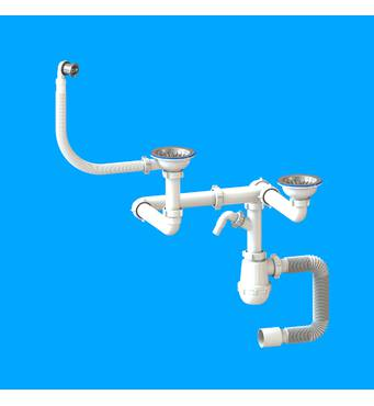 """Сифон """"Лотос-Мойка BIG DUPLEX - CERAMICS P1 для спареного різнорівневого керамічного миття"""