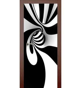 3D двері Чорно-білий вихор 9231, 80х200 см