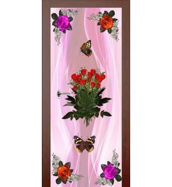 3D двери Букет роз на светло-розовом фоне 9239, 60х200 см