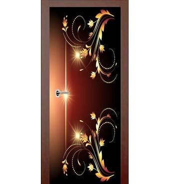 3D двері Абстракція в коричнево-золотих тонах (права) 9244, 80х200 см