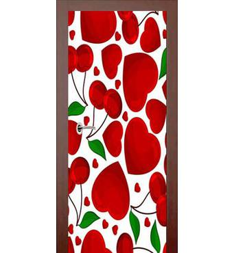 3D двери Сердечки и вишни 955, 80х200 см