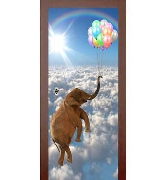 3D двері Слон з кульками 9430, 60х200 см