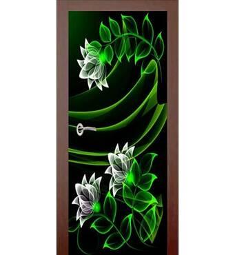 3D двери Неоновые лилии 926, 80х200 см